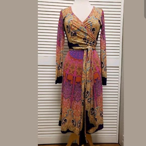 e9c1149f8da9 Etro Dresses   Abstract Print Jersey Knit Vneck Wrap Dress   Poshmark